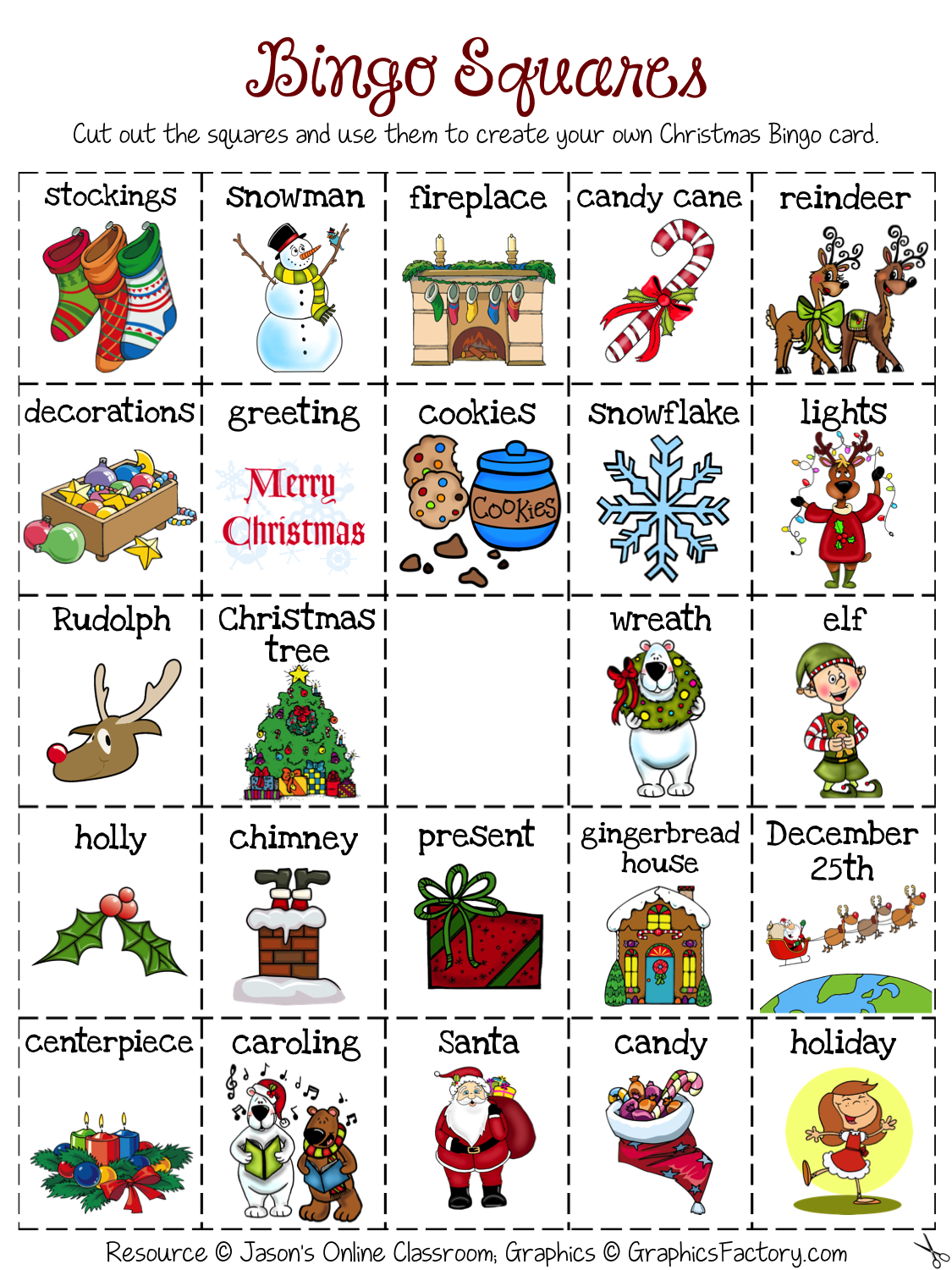 Christmas Create Your Own Luck Bingo Freebie