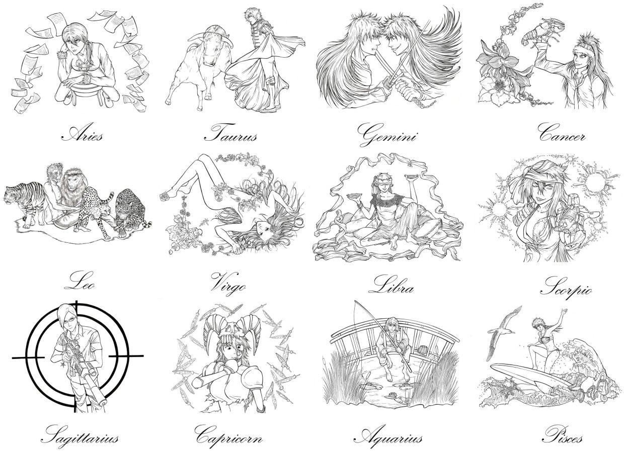 Challenging Coloring Pages Of Zodiac Signs > If You