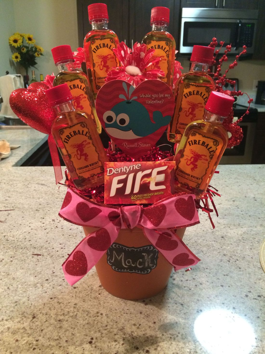 Fireball liquor bouquet for valentines day craftsdiy