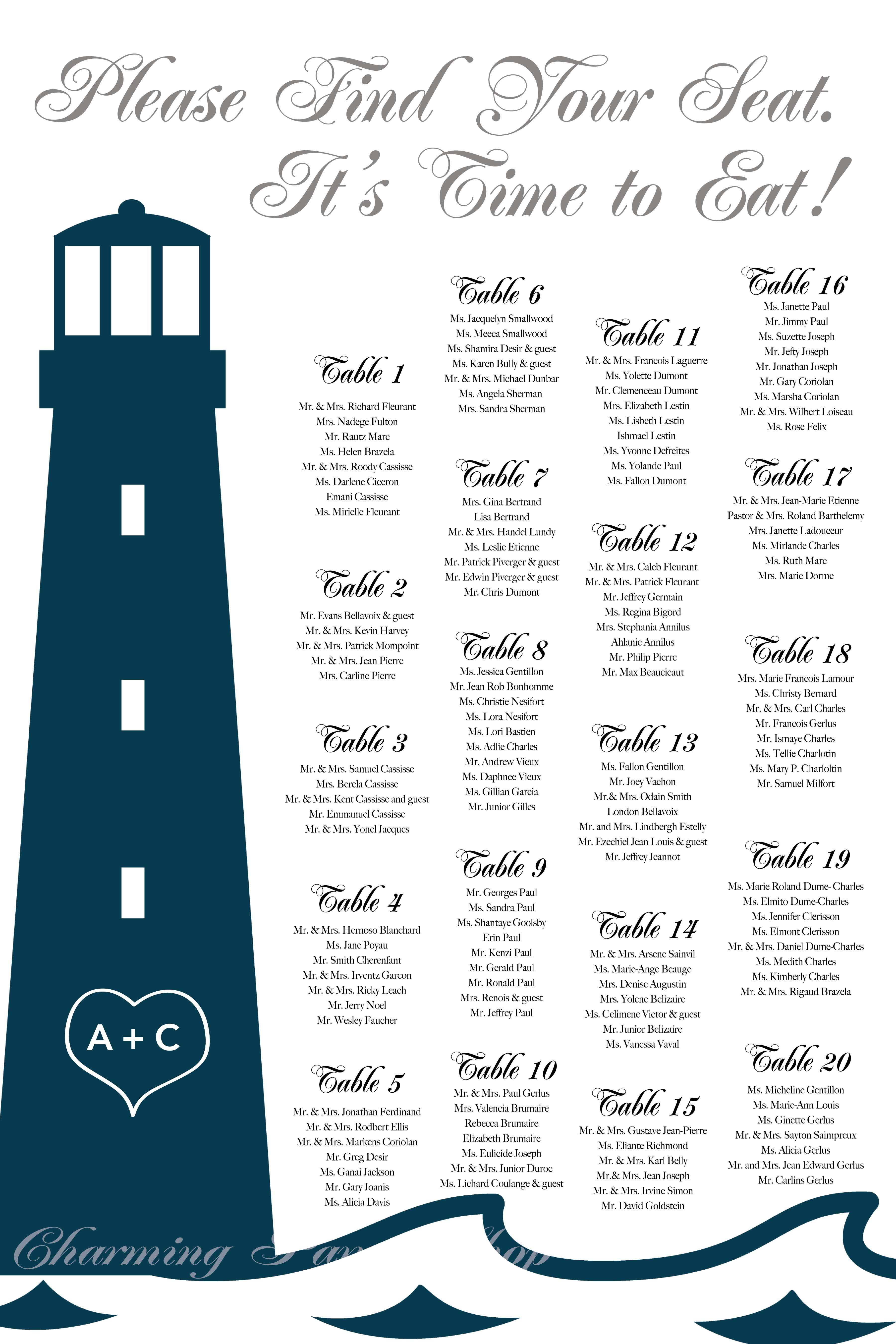 Nautical Wedding Beach Wedding Beach Party Nautical Themed Party Idea Seating Chart Template