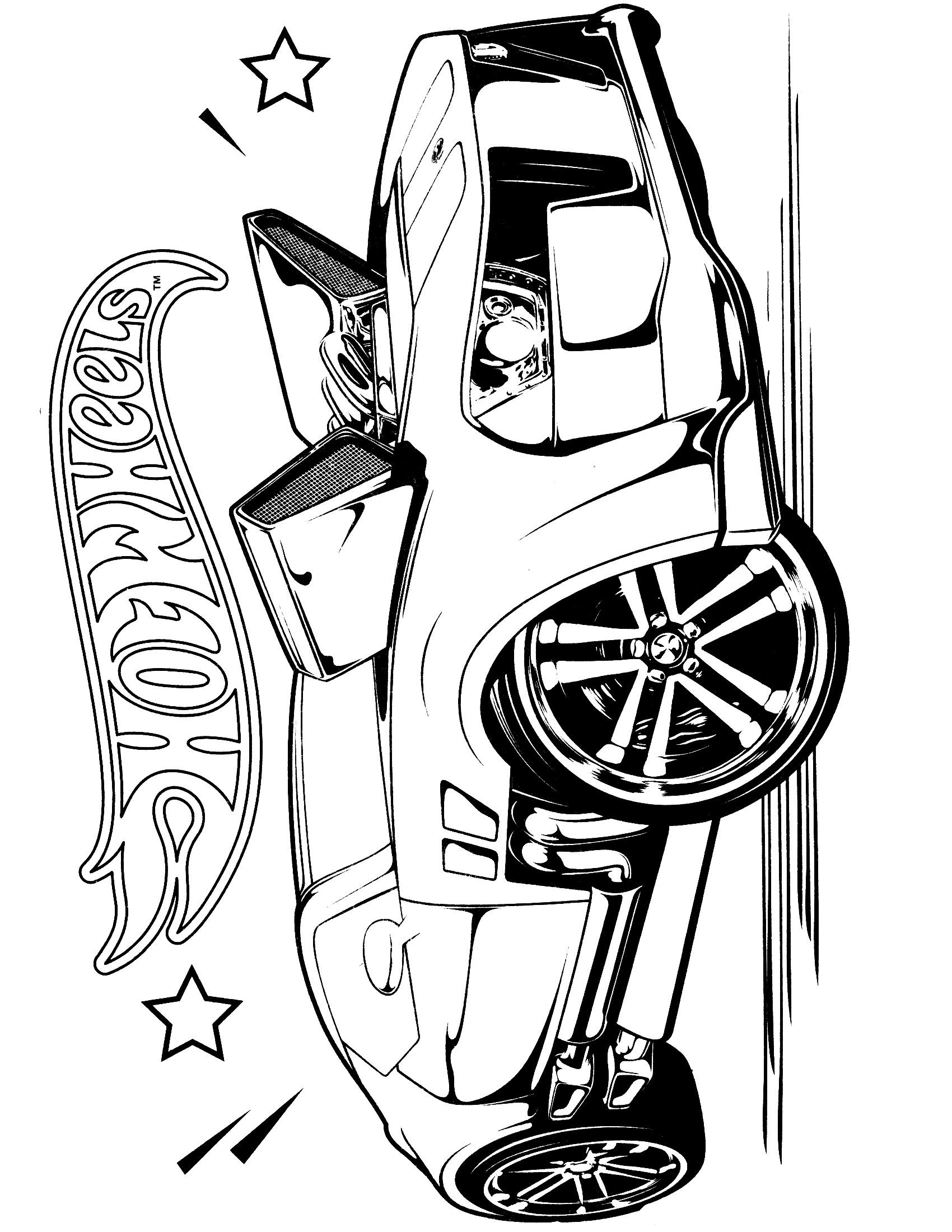 Team Hot Wheels Coloring Pages 1