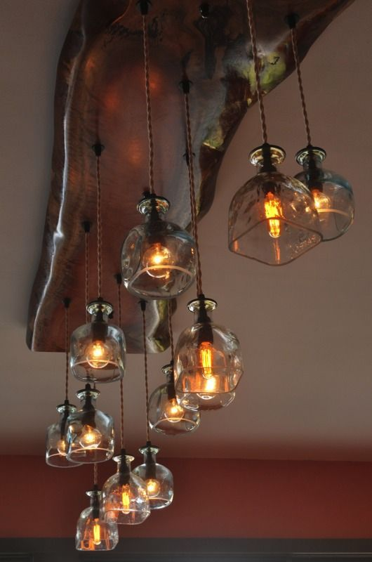 Salvaged Liquor Bottle Chandelier 1 750 00 Via Etsy So Cool Looking Going To Try And Make On My Own Just For The Fun Of It