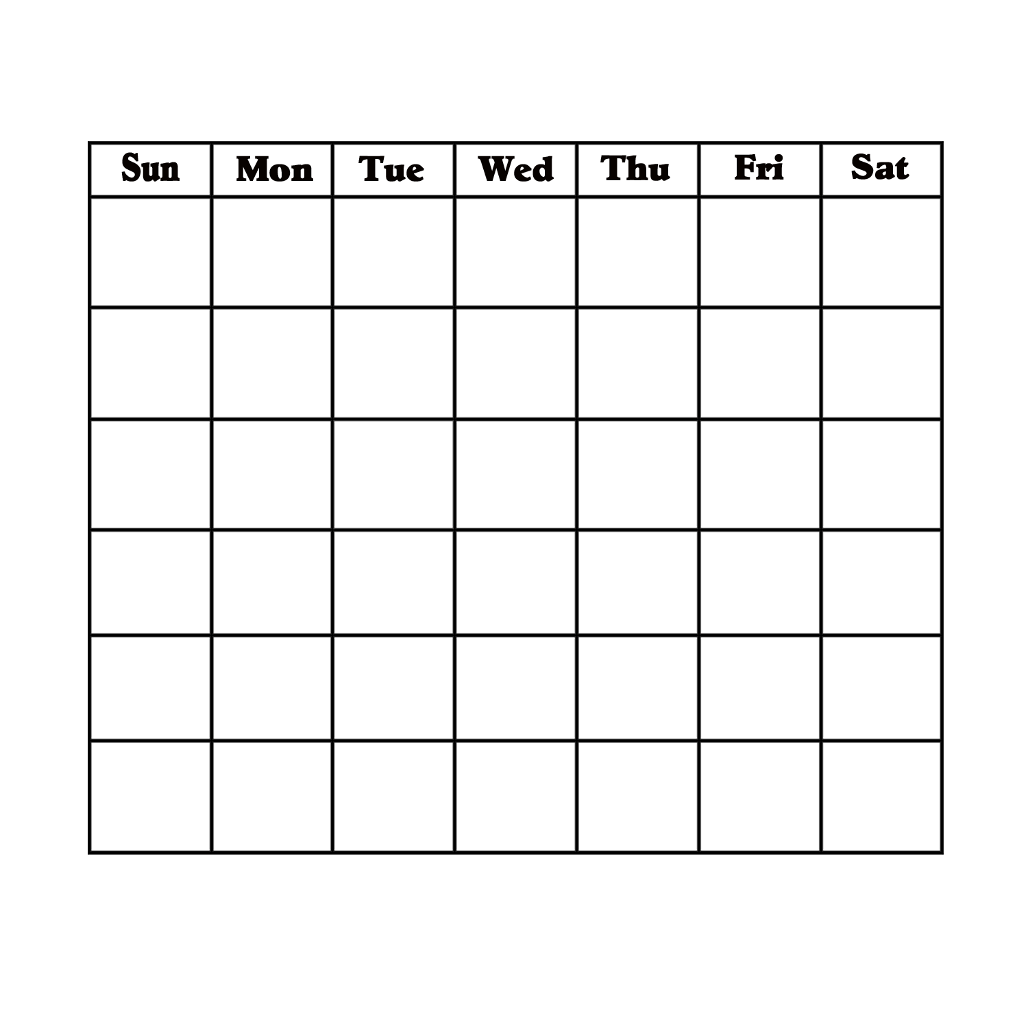Blank Calendar Page With Day Headings