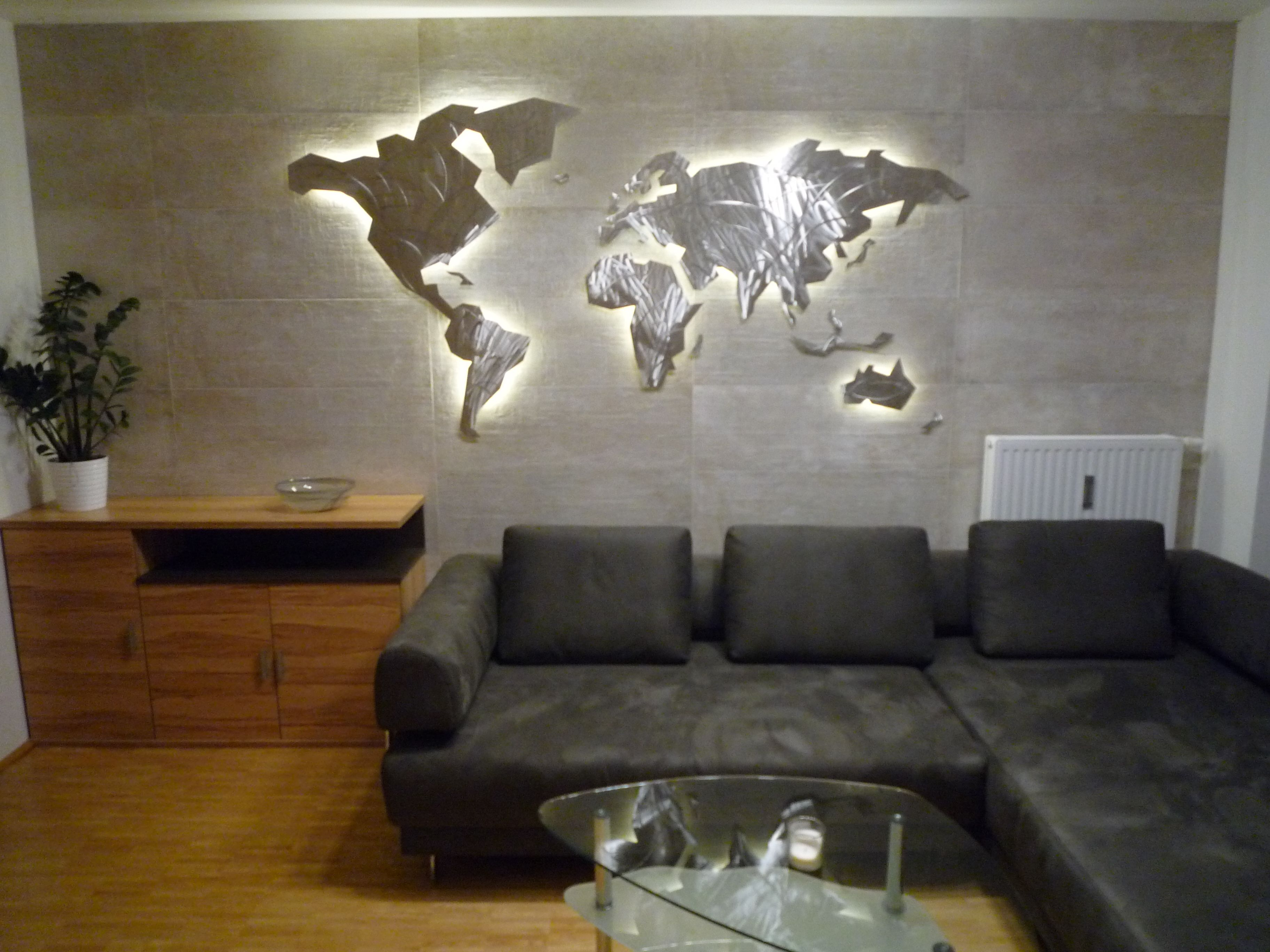 Wall Art World Map Geomundi Stainless Steel Curved