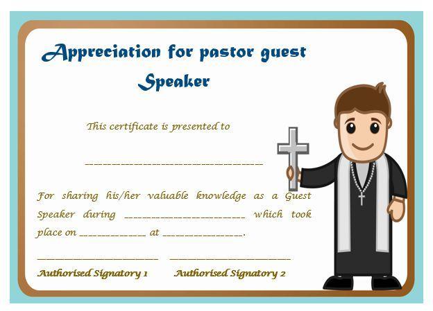 Certificate Of Appreciation For Pastor Guest Speaker