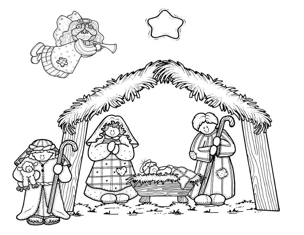 Nativity Scene Coloring Page For Preschoolers