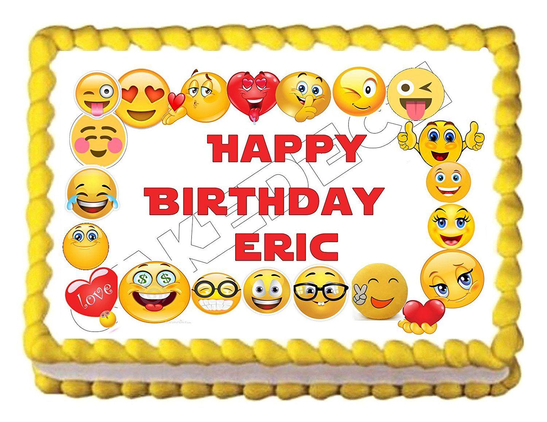 Amazon Emoji Border Edible Party Cake Topper