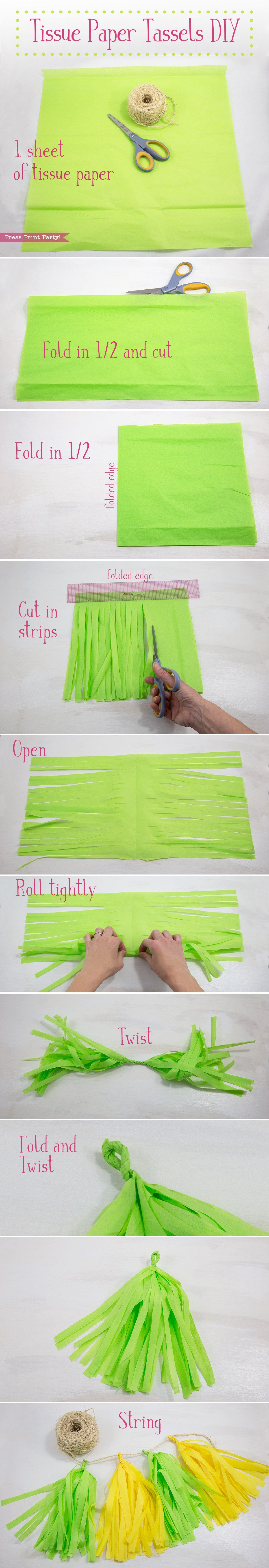 Learn how to make tissue paper tassels and garlands in any color to match your party theme. They're cheap, super festive, and easy