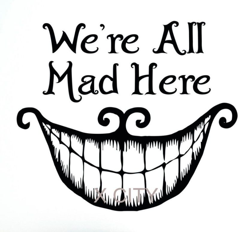 alice in wonderland wall decal vinyl cut sticker art quote