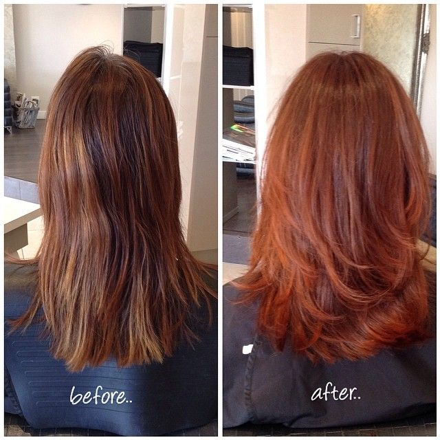 Before And After Sombr Color Using A Mix Of CHI Ionic Red