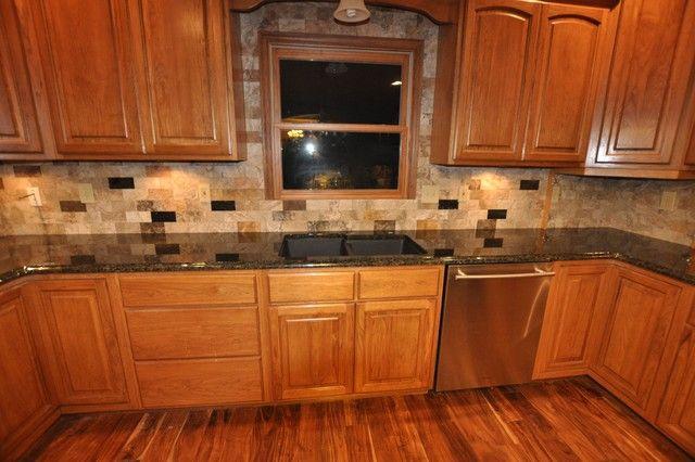 tiled kitchen countertops designs- oak with dark tile ... on Kitchen Backsplash Ideas For Black Granite Countertops  id=61677