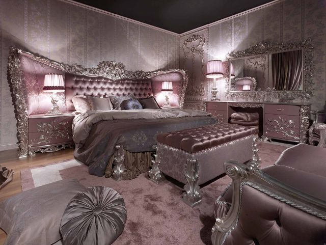 Carving Silver Italian Style Bedroom Top and Best Italian