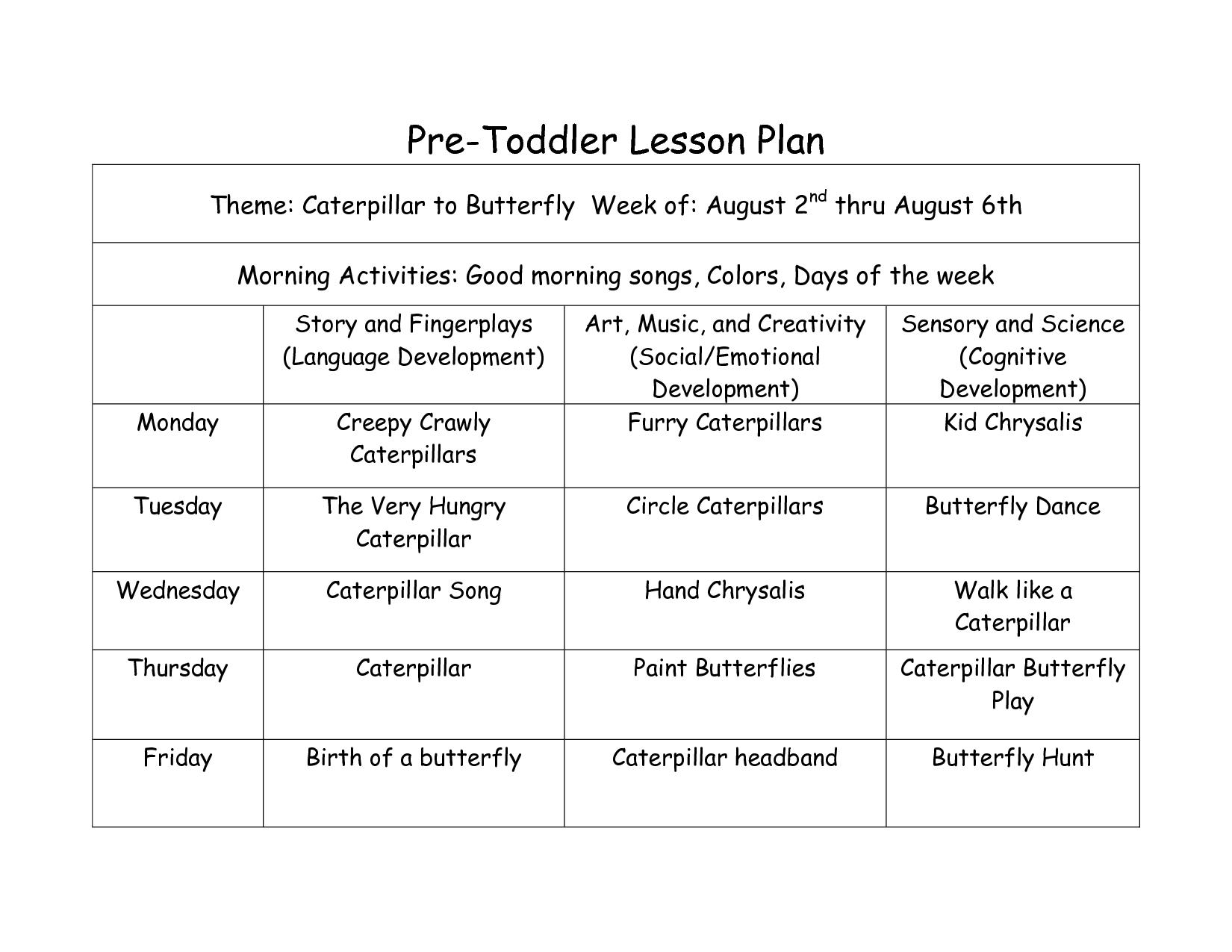 Creative Curriculum Lesson Plan Template