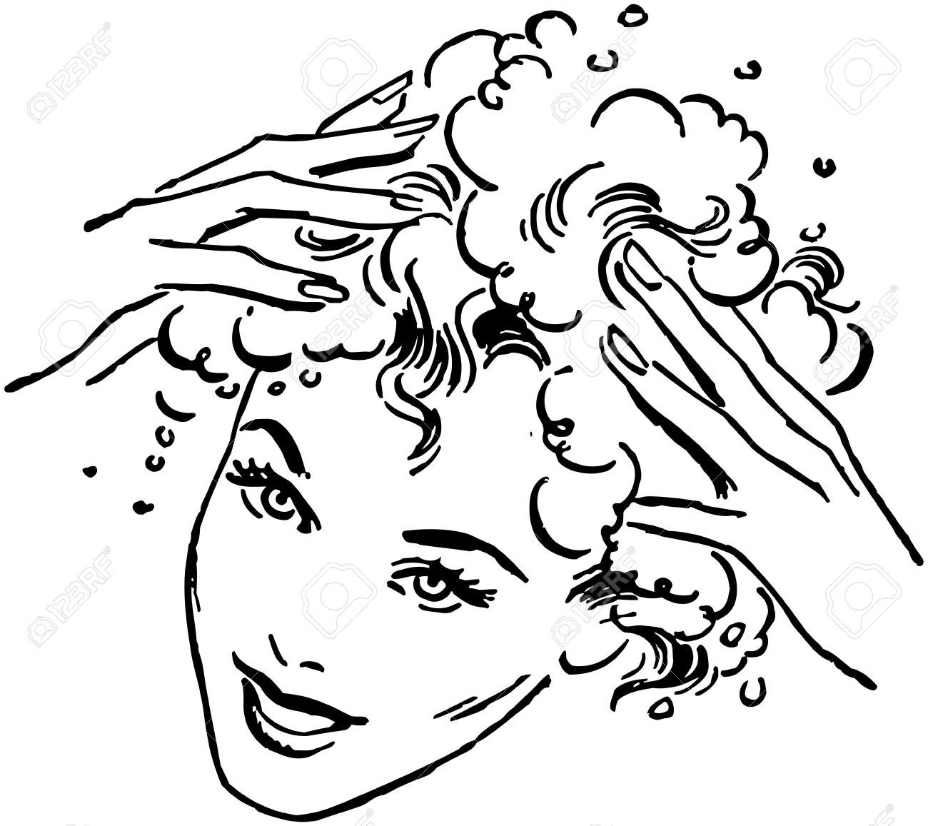 Woman Washing Hair Royalty Free Cliparts Vectors And