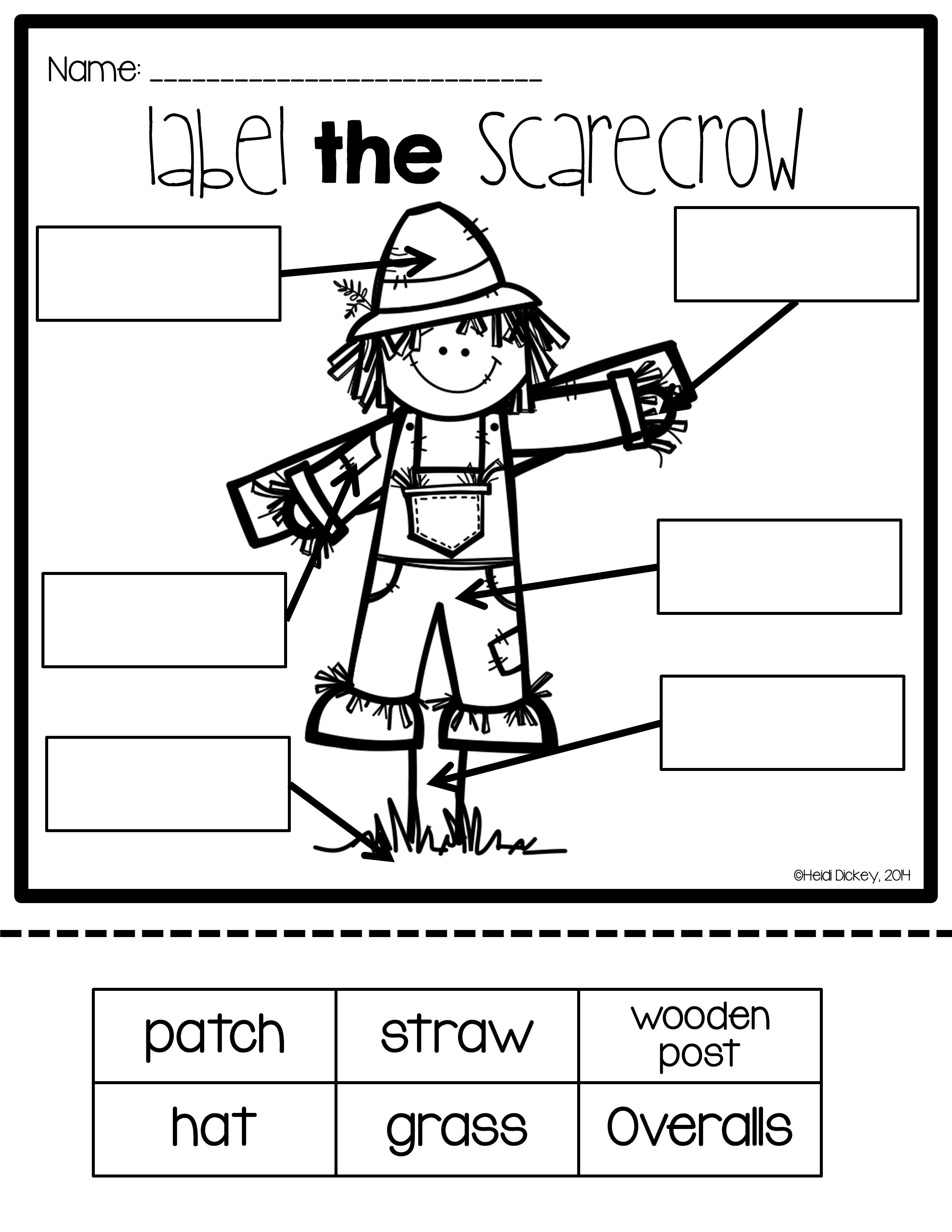 Fall Scarecrow Labeling Freebie