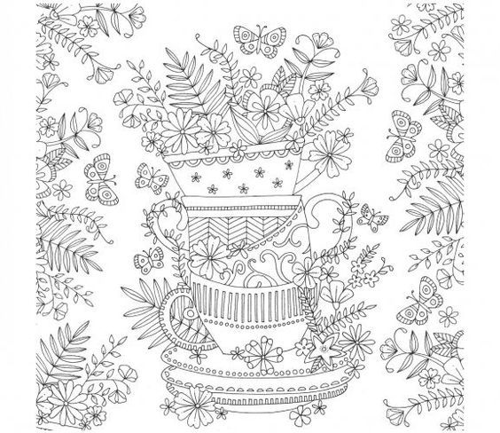 tea cup stack colouring page …  pinteres…
