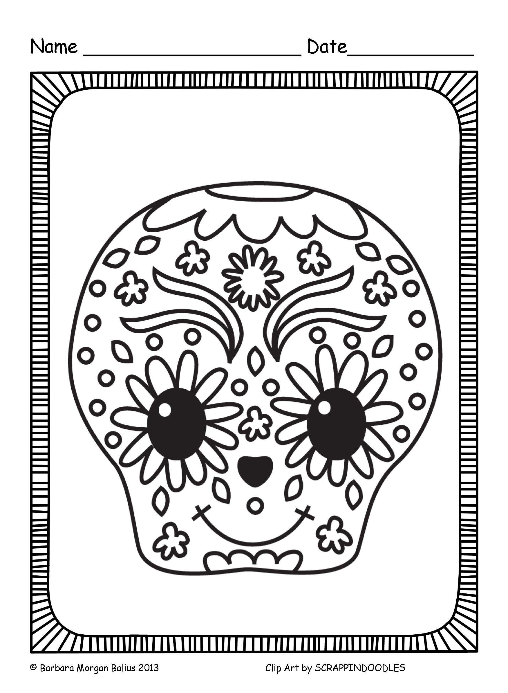I Can Color Dia De Los Muertos Coloring Sheets