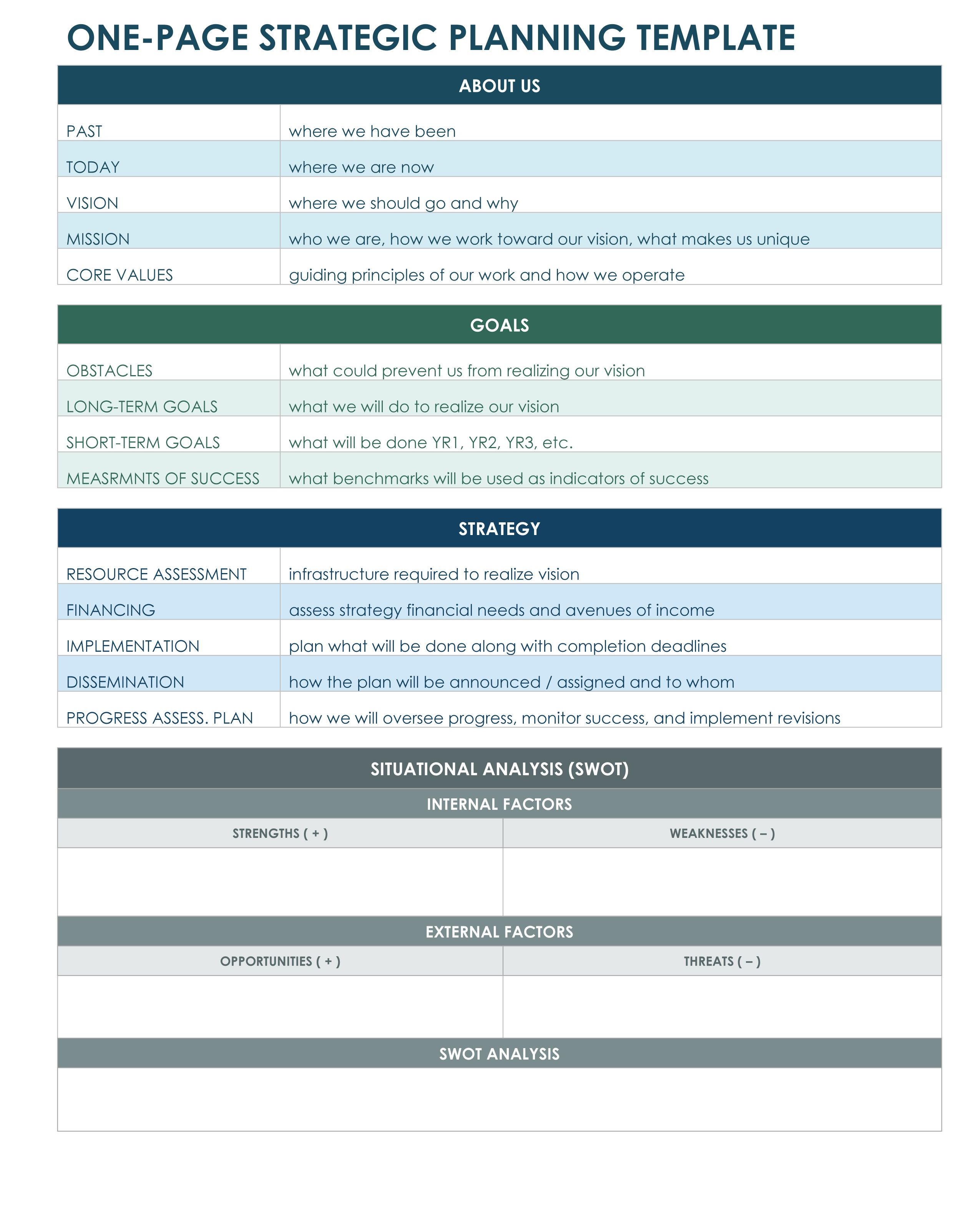 One Page Strategic Plan Excel Template