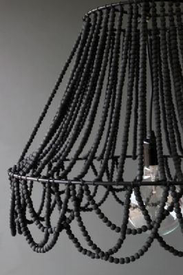 Diy Black Beaded Chandelier With Lamp Frame Can Also Use Hanging Plant Basket From The