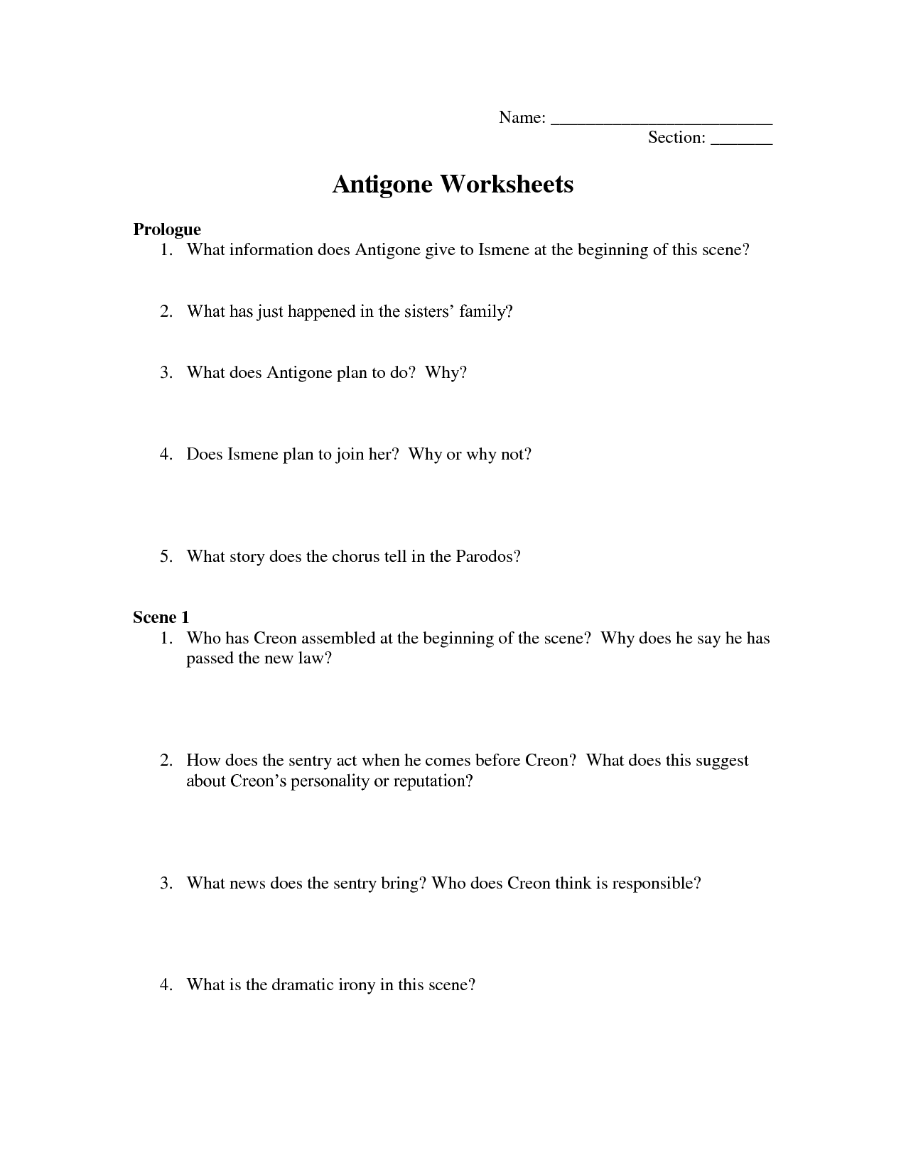 Antigone Worksheets Answers Here Saz