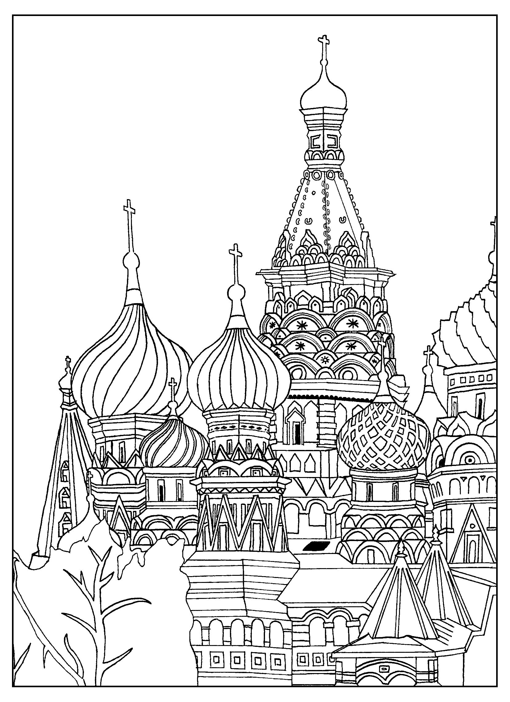 Free Adult Coloring Page Of The Saint Basil S Cathedral