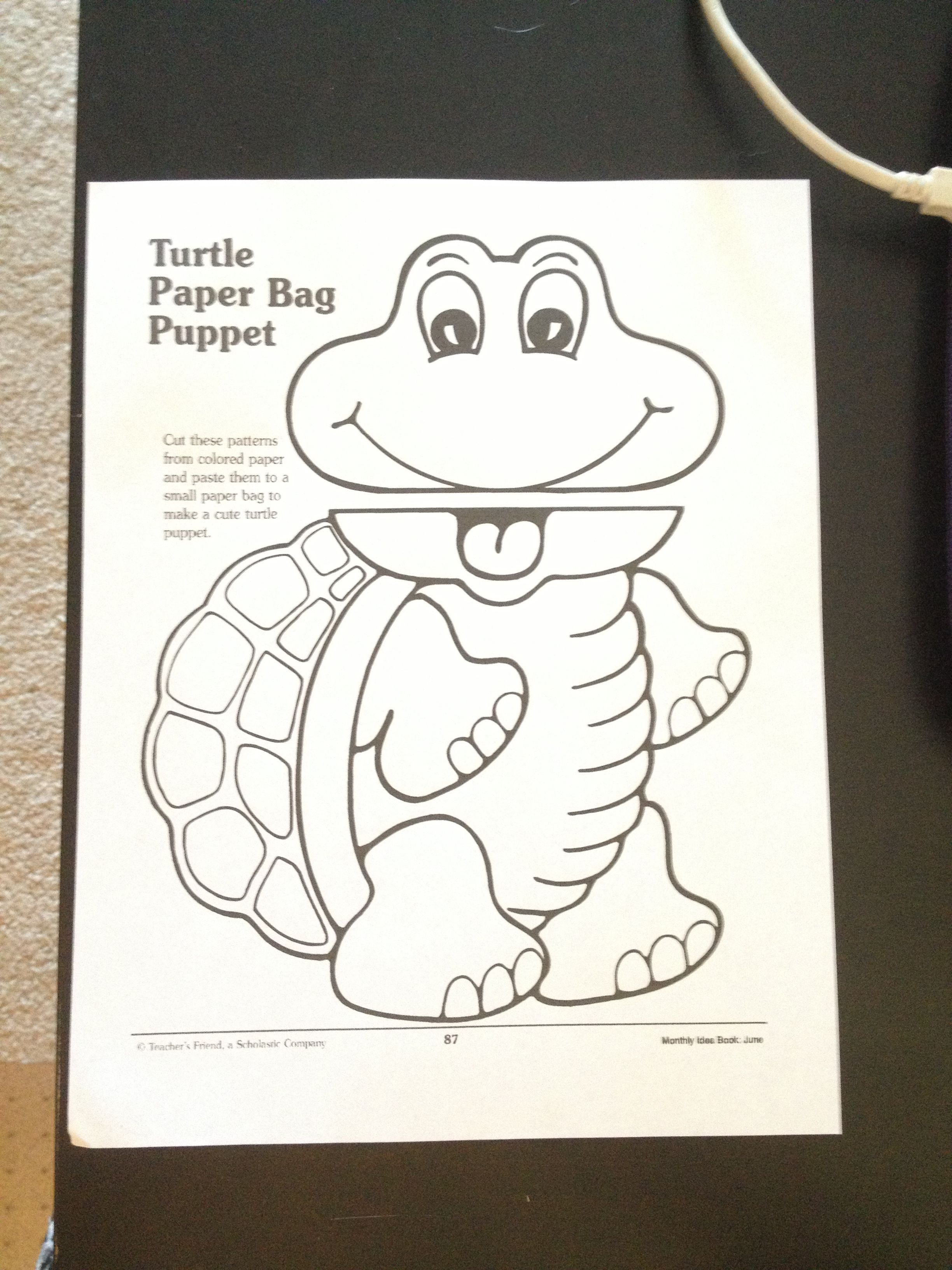 Free Turtle Paper Bag Puppet So Cute A Great Addition To My Reptiles Unit