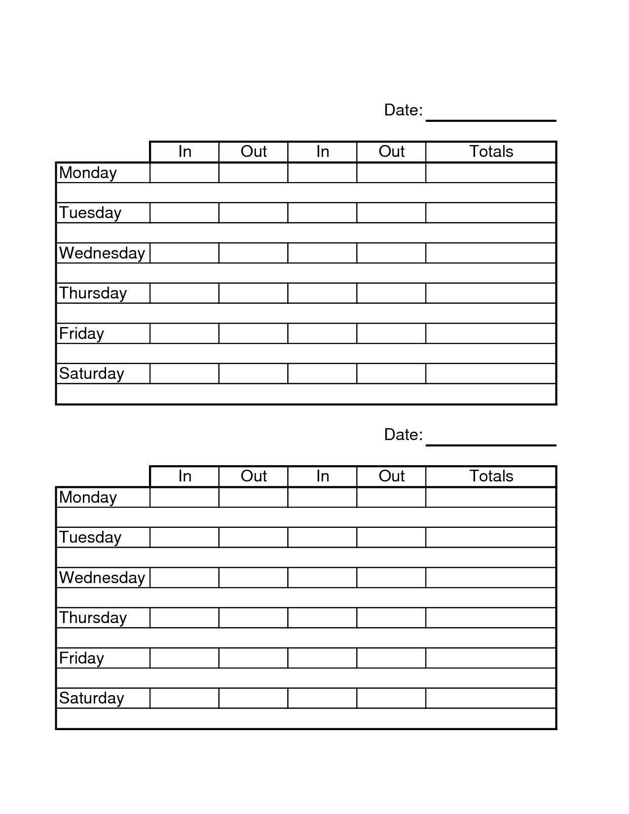 Two Week Time Sheets