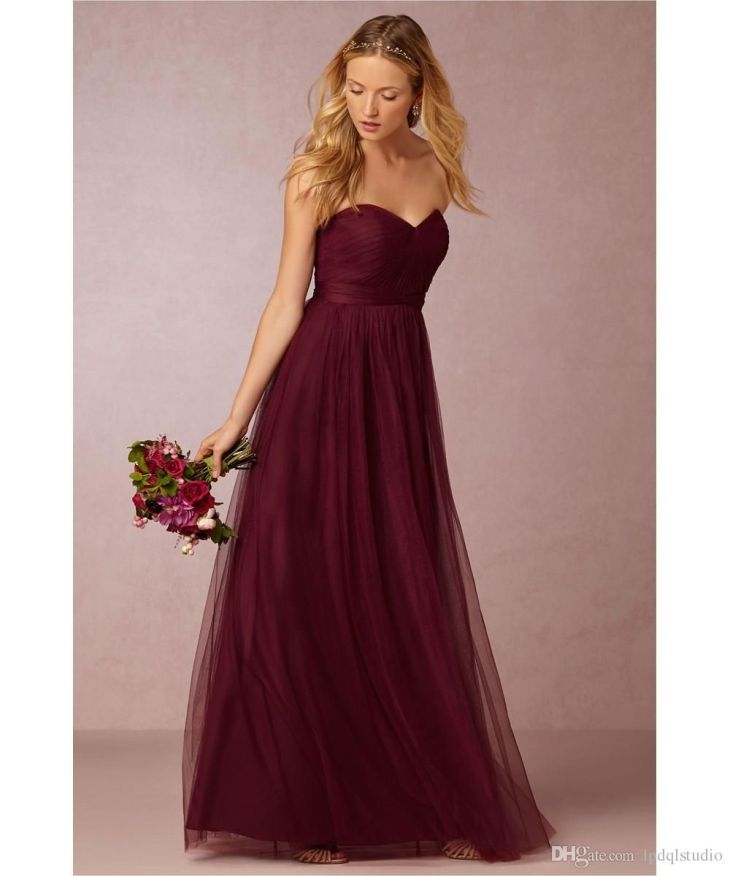 Burgundy Bridesmaid Dresses Soft Tulle Long Bridesmaid Gowns