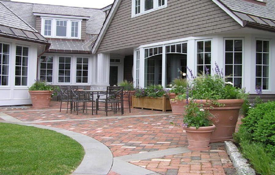 Brick Patio Paver Designs With Concrete Border ~ http ... on Red Paver Patio Ideas id=65263
