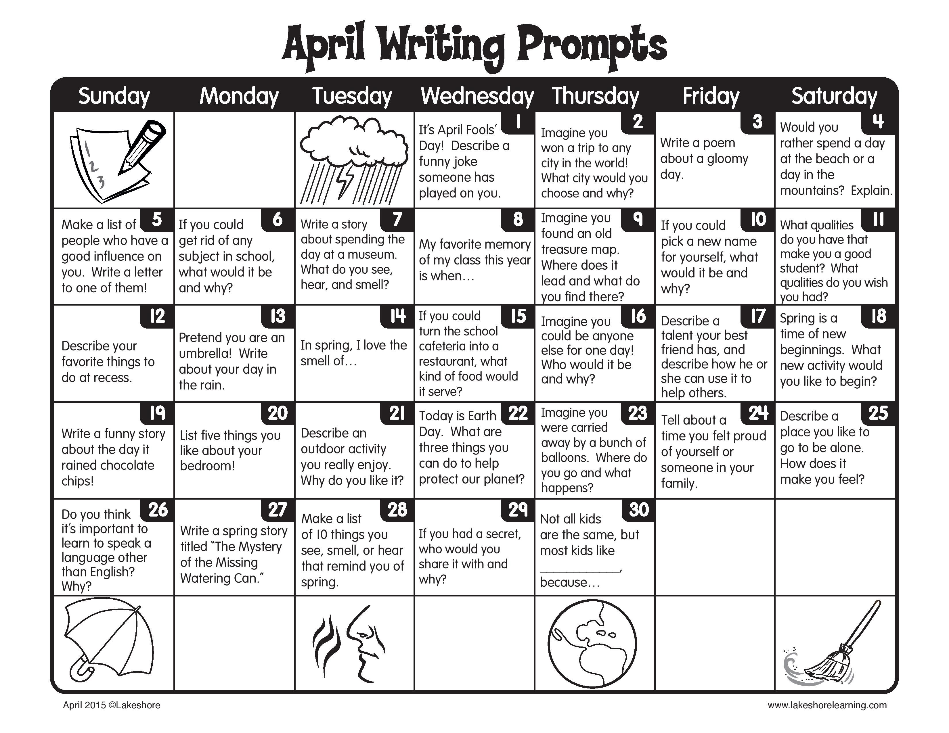 April Showers Bring New Daily Writing Prompts
