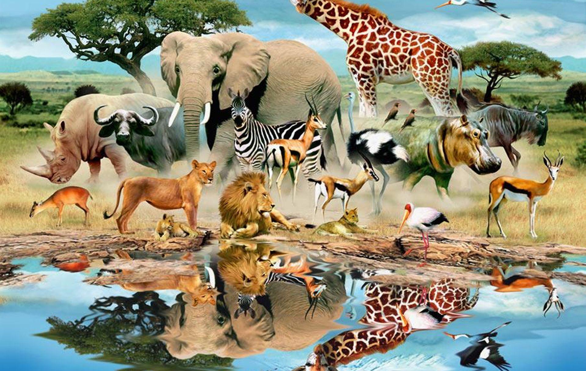 Watering Hole Wildlife Mural