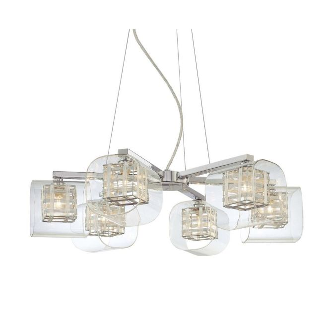 George Kovacs Lighting Six Light Chandelier With Woven Metal Shades P806 077