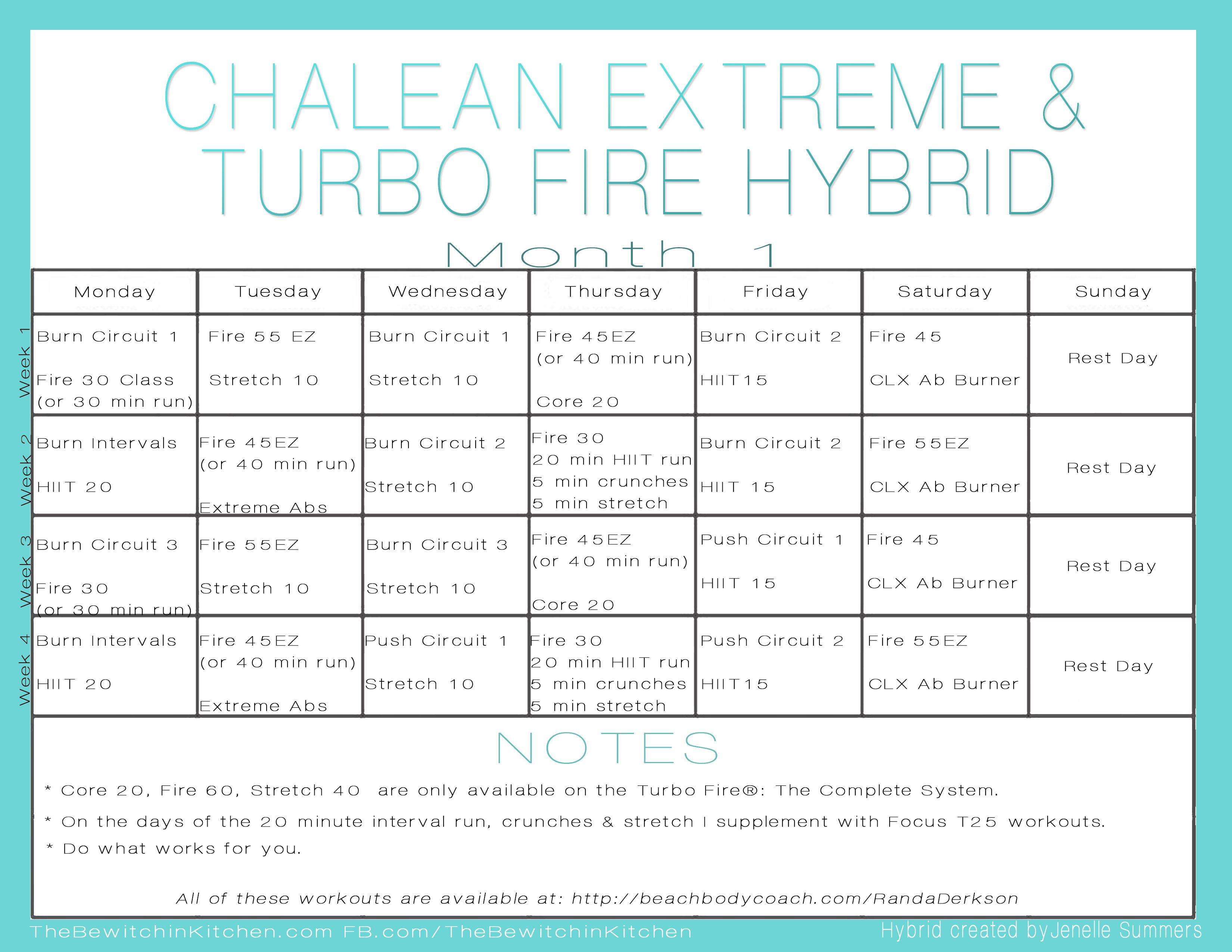 Turbo Fire Chalean Extreme Hybrid Schedule By Jenelle