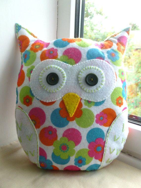 Handmade Felt Owl Pillow Lavender Scented Lavender