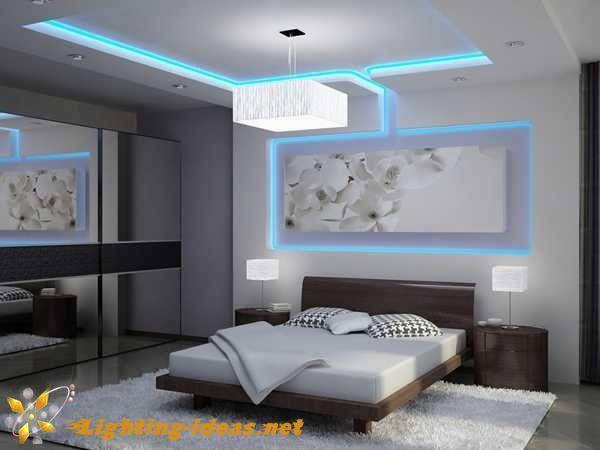 Bedroom Lights Modern Design With Blue Led Light Strips