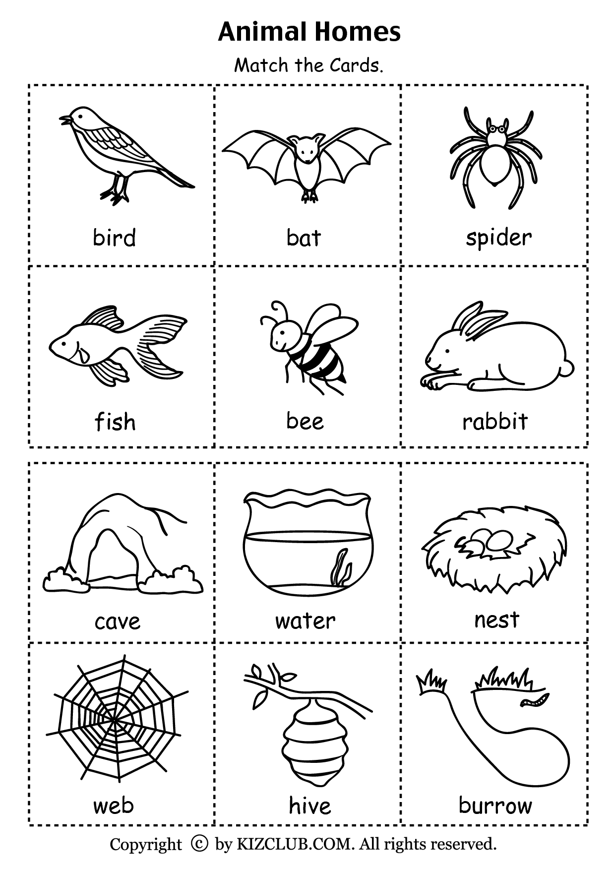 Animal Homes Matching Worksheet