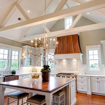 Walnut Kitchen Island Also Looks Nice With The Vent Hood