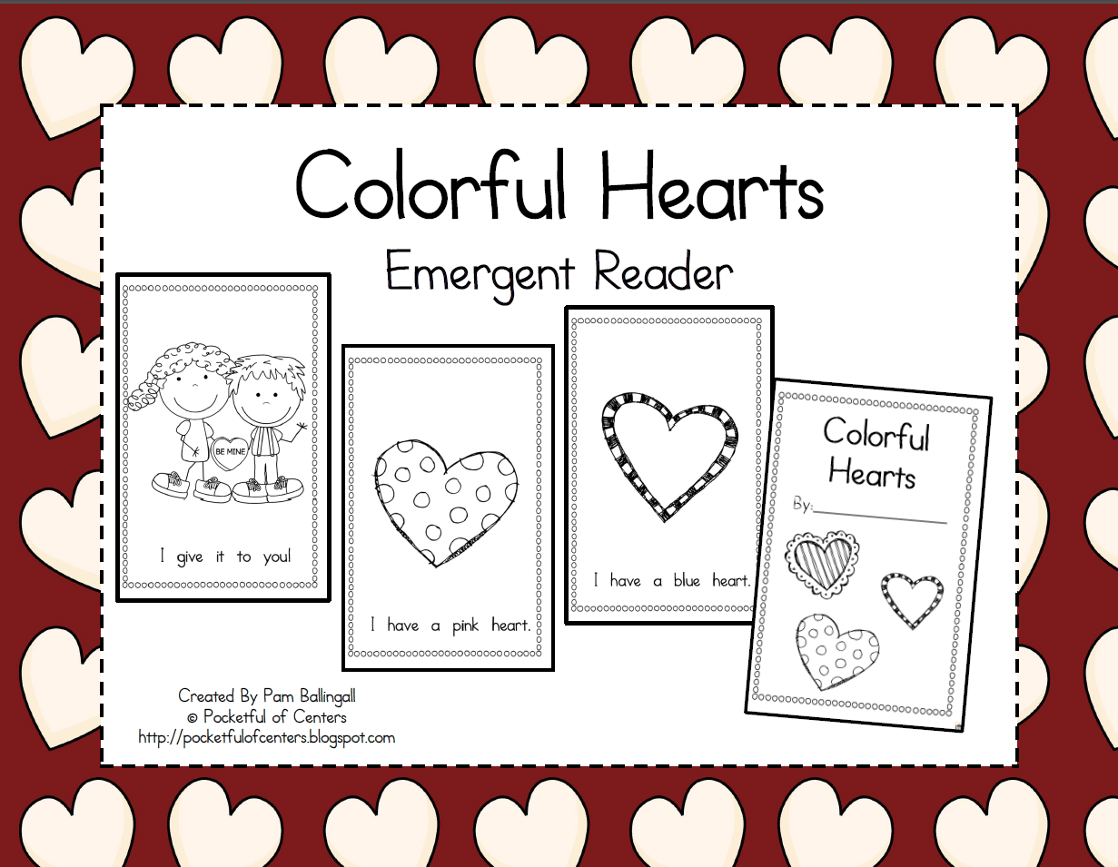 Colorful Hearts Emergent Reader Valentine S Day Book With Color Words 1 50