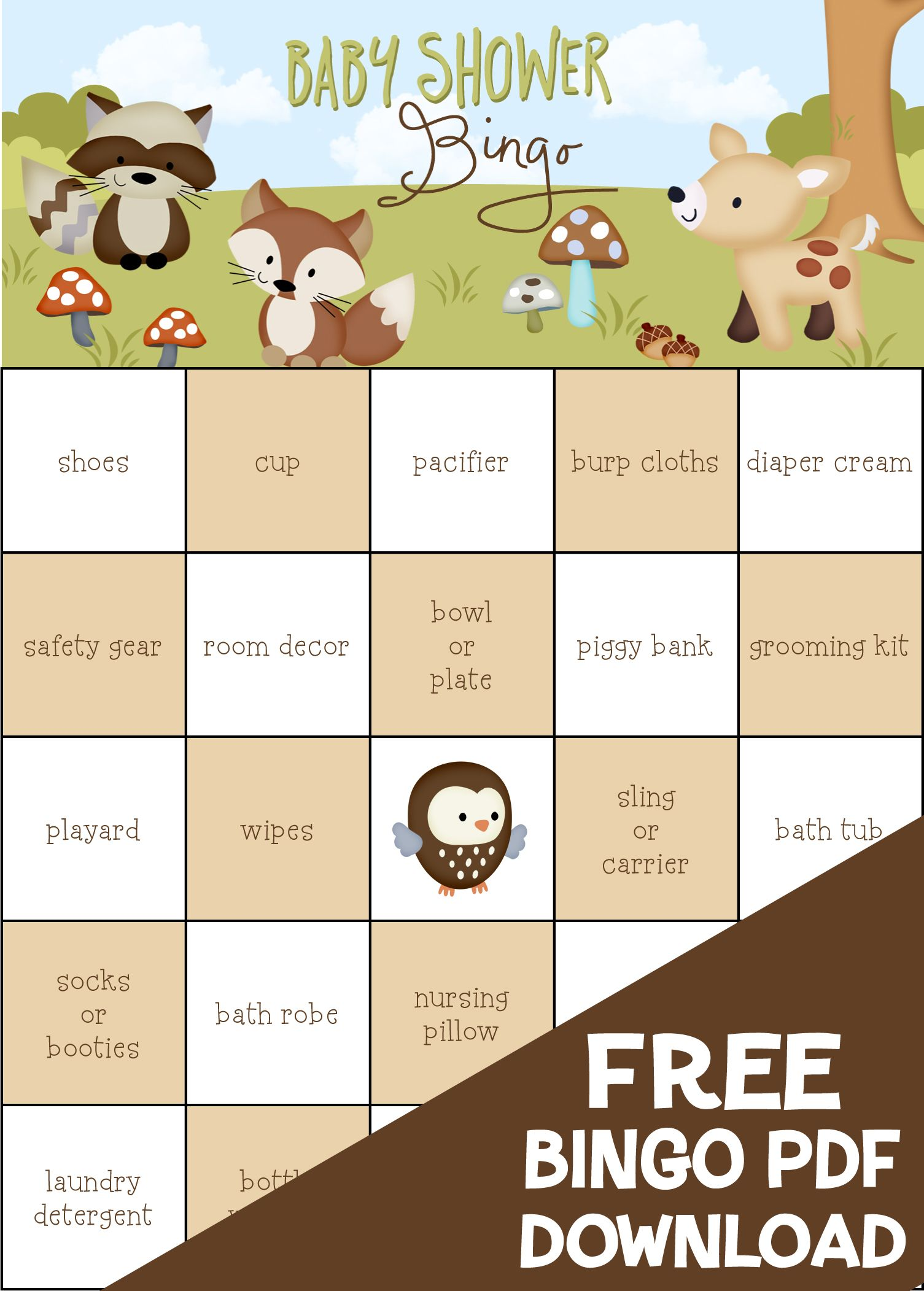 Free Friends Of The Forest Baby Shower Bingo 100 Pre Filled Game Cards Kimbellished Llc
