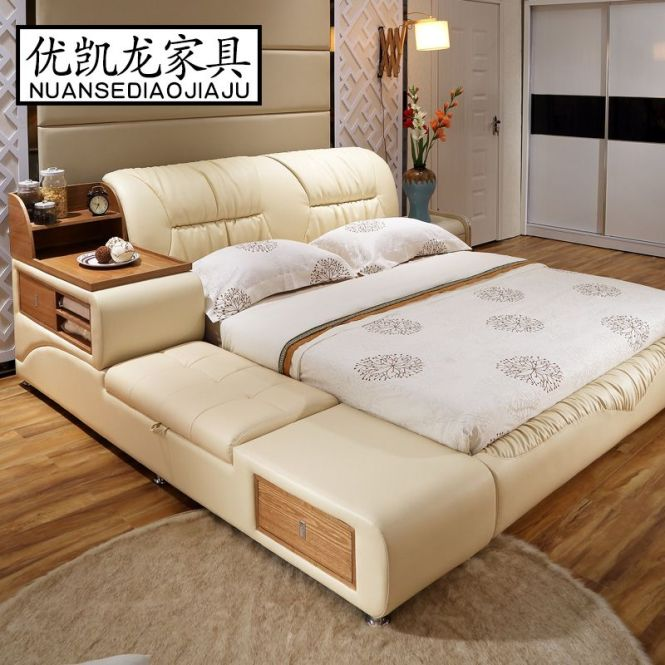 Luxury Bedroom Furniture Sets Modern Leather Queen Size Double Bed With Side Cabinet Stool No Mattress