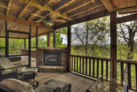 Screened Porch With Fireplace