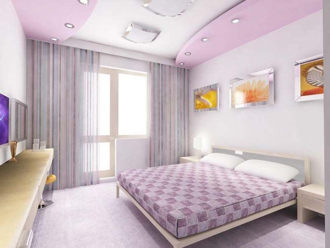 Paris Designs Purple Pop False Ceiling For Bedrooms With Illuminating
