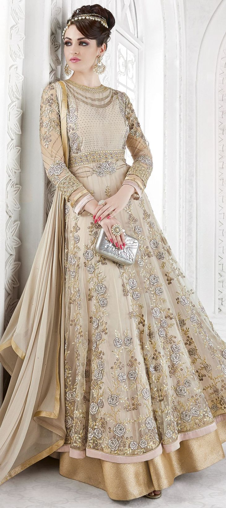 Beige and Brown color family Anarkali Suits in Net fabric