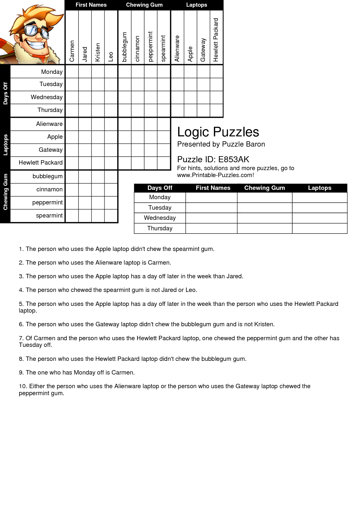 Printable Logic Puzzles Bnuauypi