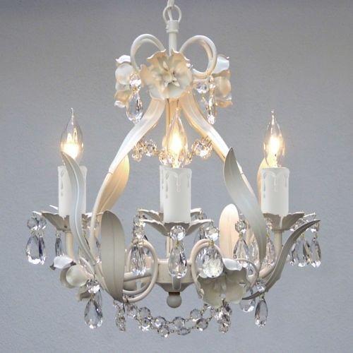 Mini Small White Crystal Chandelier Bedroom Baby Nursery Lighting Fixtures Decor