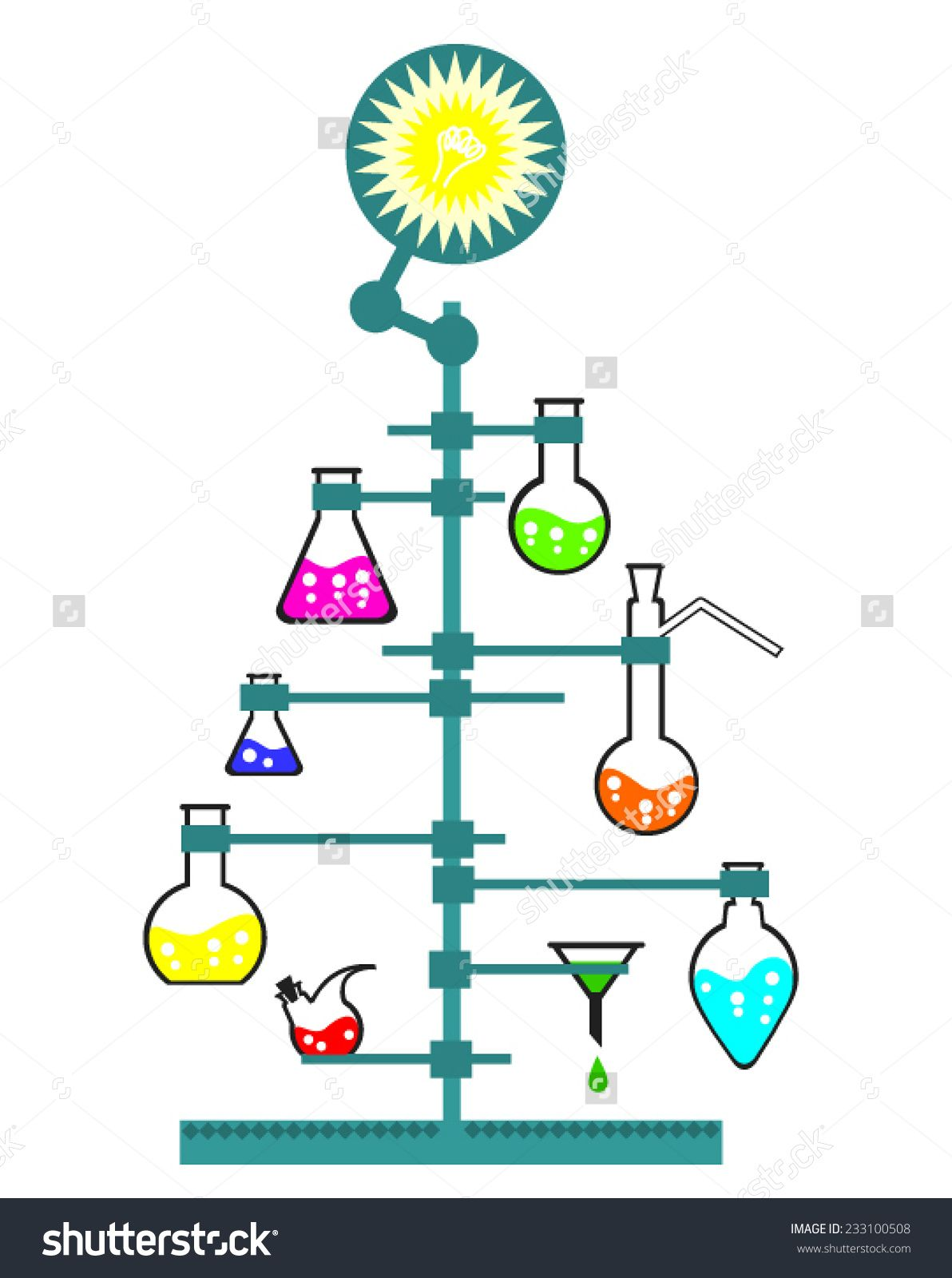 Stock Vector Christmas And New Year Tree For Chemistry