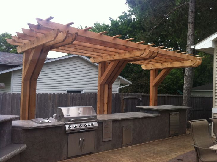 Outdoor kitchen with cantilever pergola House Ideas Pinterest