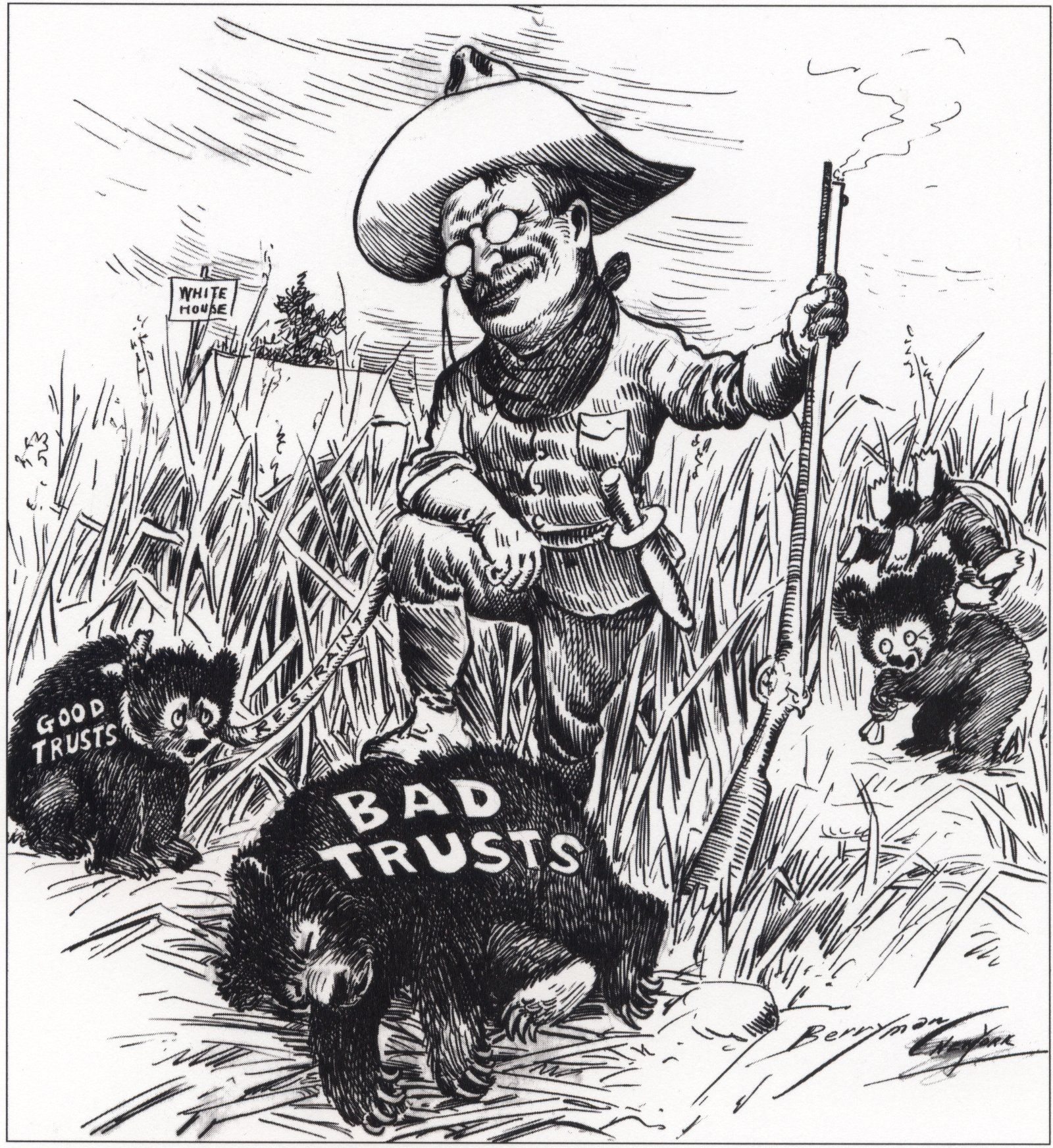 Roosevelt And The Trusts Cartoon
