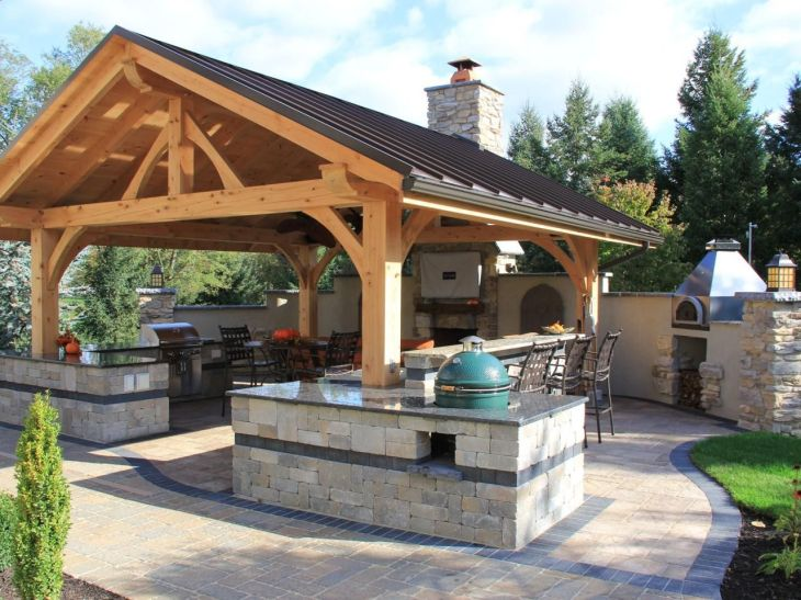 Rustic Covered Outdoor Kitchen with Bar HGTV landscaping ideas