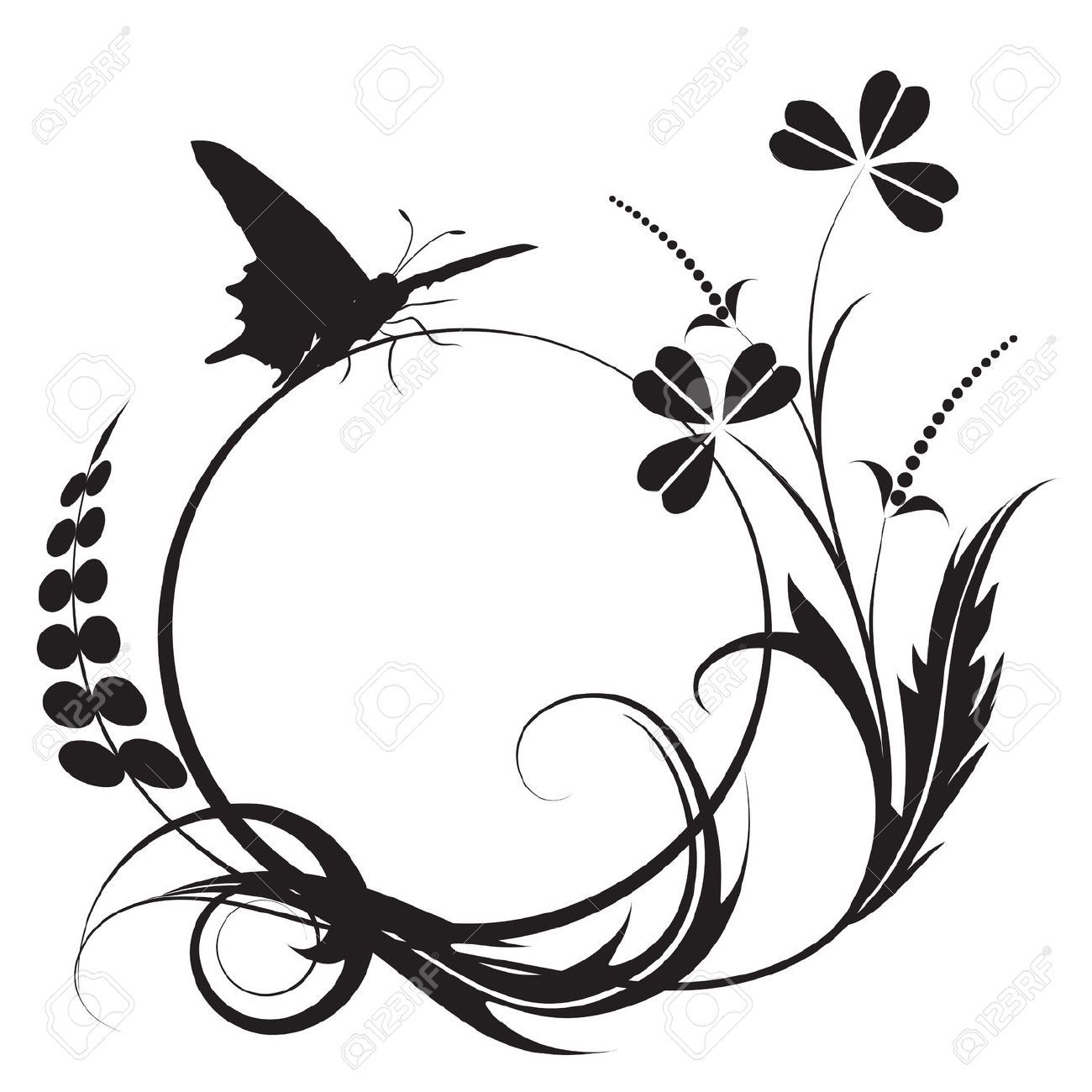 Floral Background With Butterfly In Black And White Colors